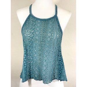 AEO Seafoam Knit Crochet Slight Crop Top Size M